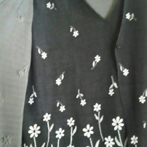 Notations Tops - Notations Black Floral Top Set NWT Sz L